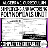 Simplifying and Factoring Polynomials Unit Plan