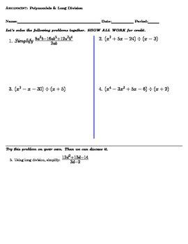 Polynomials and Long Division Worksheet