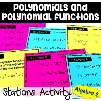polynomials and polynomial functions stations activity by sine on