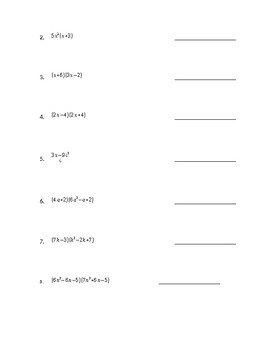 Polynomials assessment test on adding, subtracting, multiplying, classifying