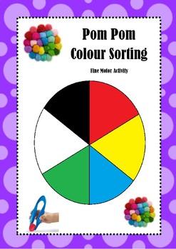 Pom Pom Colour Sorting Fine Motor Activity
