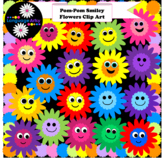 Pom-Pom Smiley Flowers Clip Art – Fun for Your Spring Worksheets and Products!