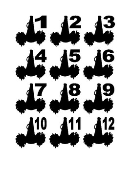 Pom Pom and Megaphone Numbers for Calendar or Math Activity