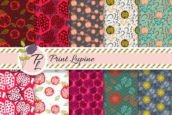 Pomegranate Seamless Pattern Set