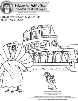 Pomodoro Penguin Coloring Page No. 1: Rome, Italy