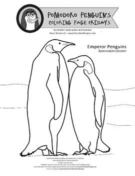 Pomodoro Penguin Coloring Page No. 2: Emperor Penguins
