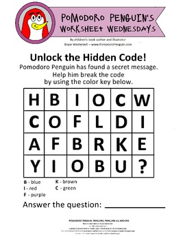 Pomodoro Penguin Worksheet Wednesday No. 4: Break the Code