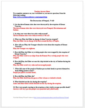 Pompeii: Ancient Rome Primary Source Worksheet