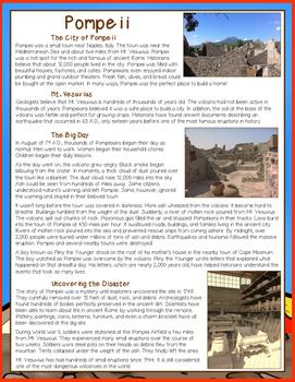 Pompeii Nonfiction Close Reading Comprehension Passage and Questions