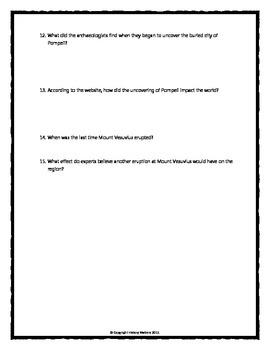 Pompeii - Webquest with Key (History.com)