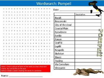 Pompeii Wordsearch Puzzle Sheet Keywords European History Volcanoes