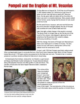 Pompeii and Mt Vesuvius Story and Common Core Worksheet