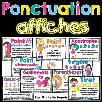 Ponctuation - 9 affiches (signes de ponctuation)   - French Punctuation Posters