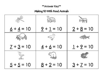 Pond Animals: Missing Addend Word Problems (Making 10 with Word Problems)