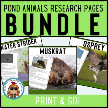 Pond Creatures Reading & Writing Pages CCSS! 22 creatures Science & Literacy