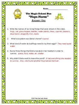 "Pond Habitat Ecosystem Magic School Bus ""Hops Home"" Video Response Worksheet"