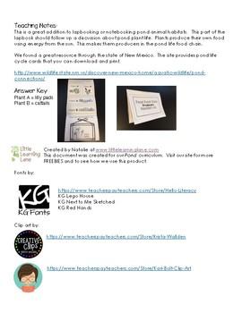 Pond Habitat Lapbook - Pond Food Chain PRODUCERS Insert