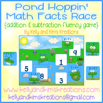 Pond Hoppin' Math Facts Race {addition & subtraction fluency game}