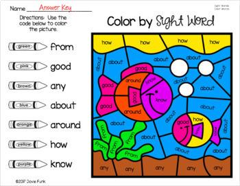 Spring Pond Life Color By Sight Word Worksheets Morning Work Spring