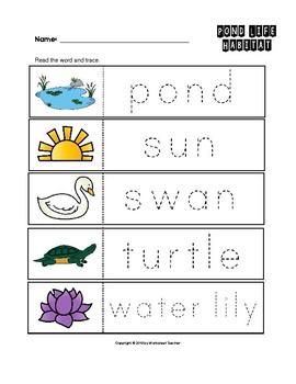 Pond Life Habitat Trace the Words Worksheets Preschool/Kindergarten