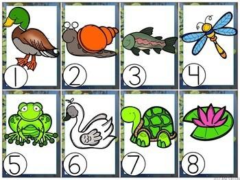 Preschool Pond Life Literacy and Math Centers Bundle