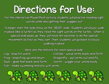Pond Life Sight Words!  Interactive PowerPoint Activity