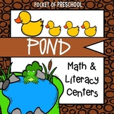 Pond Math and Literacy Centers for Preschool, Pre-K, and Kindergarten