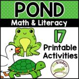 Pond Theme Printable Math & Literacy Activities Pre-K, Pre
