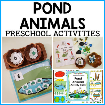 Pond and Frog Preschool Math and Literacy Centers