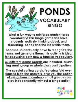 Ponds Vocabulary Bingo