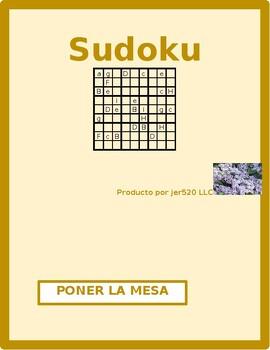 Poner la mesa (Set the table in Spanish) Sudoku