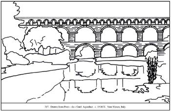 Pont-du-Gard.  Coloring page and lesson plan ideas.