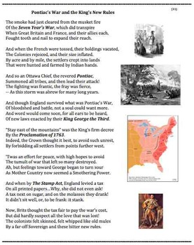 Pontiac's War and the Kings New Rules (31) - poem worksheets puzzle