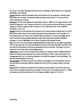 Pony Express - Article review questions vocab time line activities PDF