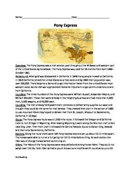 Pony Express - Article review questions vocab time line ac