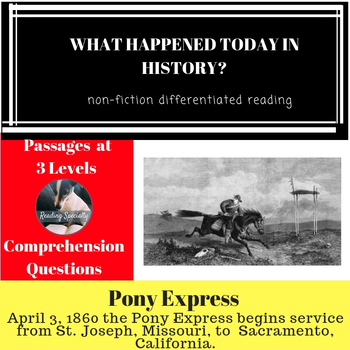 Pony Express Differentiated Reading Passage April 3