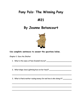 Pony Pals: The Winning Pony #21 By Jeanne Betancourt Comprehension Packet