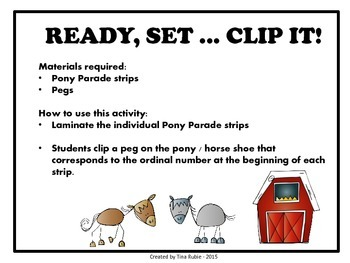 Pony Parade Ordinal Numbers - Australian Version