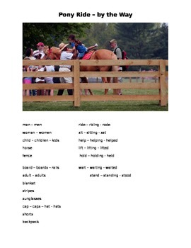 Pony Ride - By the Way ESOL prompt, sub plans