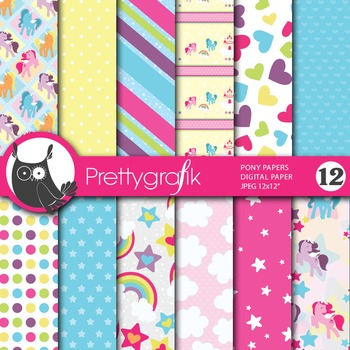 Pony horse digital paper, commercial use, scrapbook papers - PS647