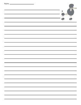 Poodle Dog Lined Paper
