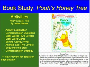 Pooh's Honey Tree:  Book Study, Comprehension Activities FREE BOOK PACKET