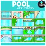 Pool Backgrounds Clip Art Set {Educlips Clipart}