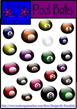 Pool Balls - Numbers and Blank {Designs by Nawailohi Digital Clipart}
