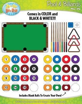 Pool & Billiards Clipart {Zip-A-Dee-Doo-Dah Designs}