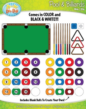 Pool & Billiards Clipart Set  — Over 65 Graphics!