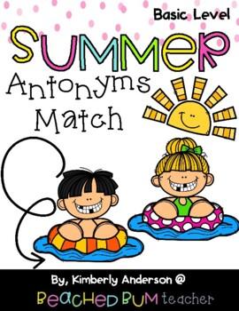 Pool Kids and Popsicles / Summertime: Antonyms Match Center (Basic)