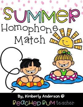 Pool Kids and Popsicles / Summertime: Homophone Word Match Center