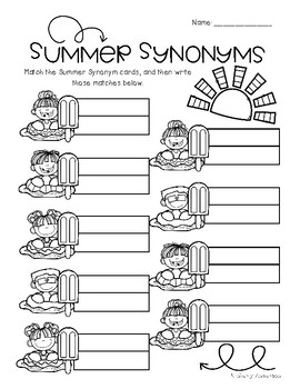 Pool Kids and Popsicles / Summertime: Synonyms Match Center (Basic)