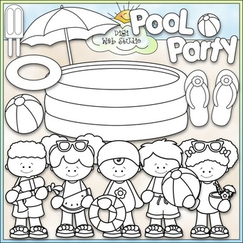 Pool Party Clip Art - Swimming Clip Art - Kids Swimming - CU Clip Art & B&W